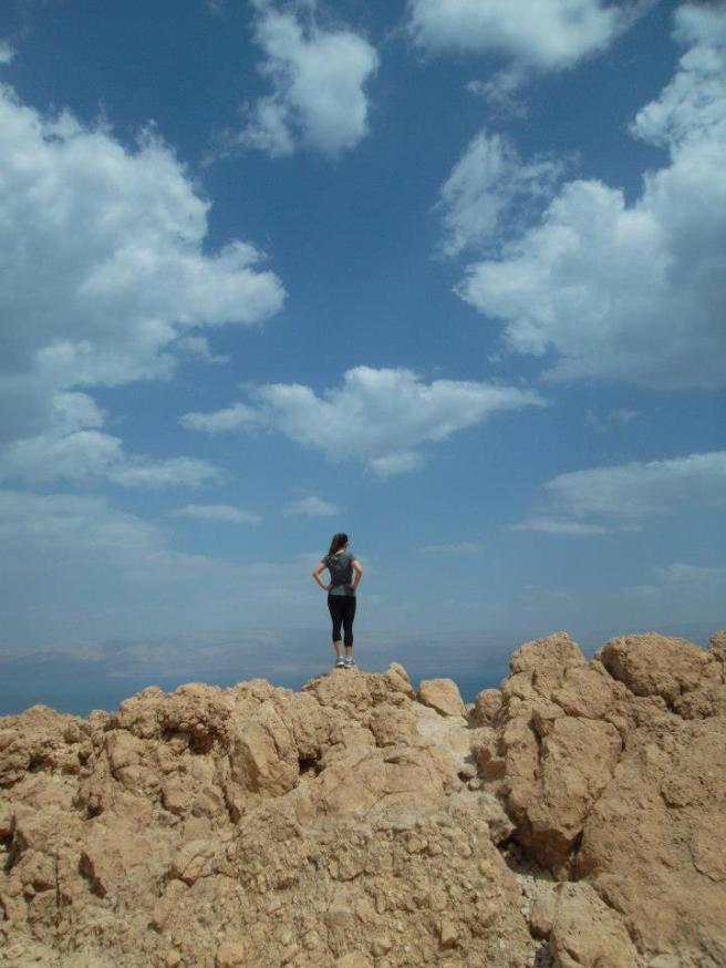 Having a contemplative moment on a hike in Israel.